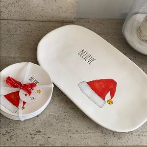 "Rae Dunn ""Believe"" platter and set of 4 app plates"